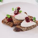 Cherry basil ricotta toast