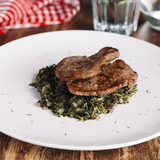Beef steak with garlic kale