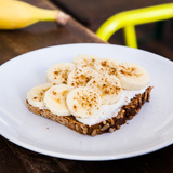 Banana & almond yogurt on bread