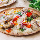 Sweet corn, chicken & mozzarella pizza