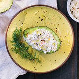 Avocado filled with cottage cheese