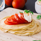 Cloud pancake with hummus and tomato