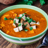 African sweet potato & peanut soup with tofu