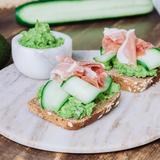 Avocado, cucumber & prosciutto sandwich
