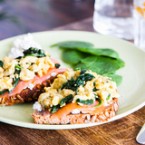 Salmon, spinach & egg on bread